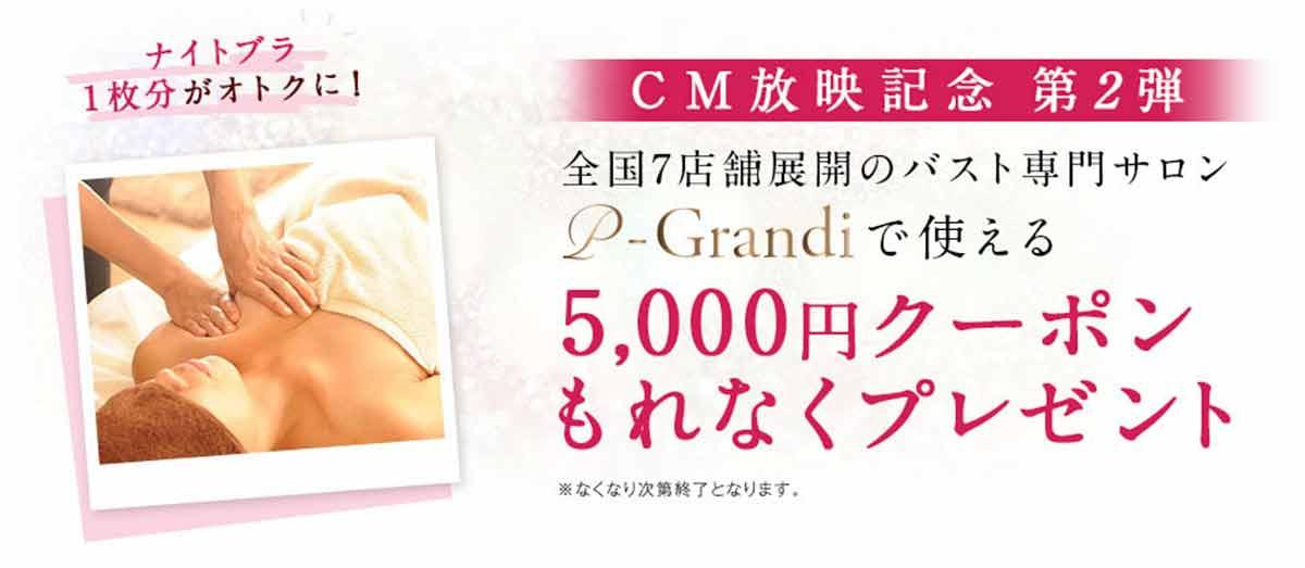 バスト専用サロンp-Grandi(ピーグランディ)で使える5,000円クーポンプレゼント