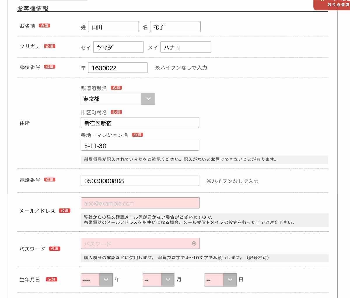 PGブラ注文方法「お客様情報」